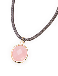doce colar de pingente de aço de titânio oval rosa