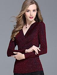 Bluza Ženske,Jednostavno Ležerno/za svaki dan Jednobojni-Dugih rukava V izrez Poliester