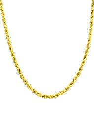 Copper 24K Gold Rope Chain Necklace Gold Necklace For Man Women 3MM Width 16/18/20/24/30