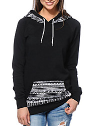 cheap -Women's Daily Hoodie Print Round Neck Micro-elastic Polyester Long Sleeve Winter Fall