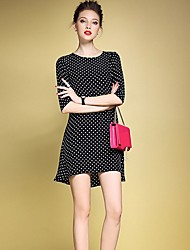 Ženski Vintage Ležerno/za svaki dan Širok kroj Haljina,Na točkice 1/2 rukava Okrugli izrez Asimetričan Crna Poliester Sva godišnja doba