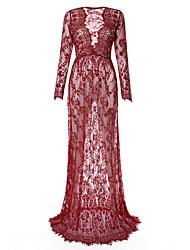 cheap -Plus Size Casual Lace Dress Lace Print High Rise Maxi V Neck
