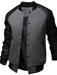 cheap -Men's Daily Active Casual/Daily Winter Fall Regular Bomber Jacket,Patchwork Cotton Polyester
