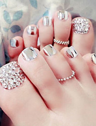 cheap -24PCS/SET  Nail Strips Of Metal Silver Toenails Finished Product  Foot Patch