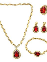 Gioielli 1 collana / 1 paio di orecchini / 1 bracciale / 1 anello Strass Matrimonio / Feste / Quotidiano / Casual 1 Set Da donna Rosso