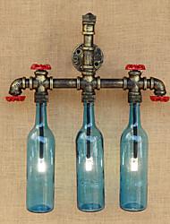 AC 220V-240V 9W E27 bgb013 retrò interruttore vento industriale ha portato una bottiglia d'acqua lampada da parete applique da parete blu