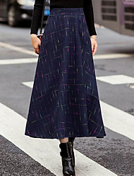 cheap -Women's Daily Midi Skirts,Casual A Line Cotton Solid All Seasons