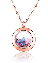 baratos -cor da moda strass aço inoxidável 316L preenchido rosa banhado a ouro colar de pingente