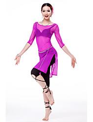 abordables -Danse du ventre Robes Femme Entraînement Tulle Demi Manches Taille haute Robe