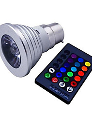 cheap -1pc 3 W 120 lm E14 / GU10 / B22 LED Spotlight 1 LED Beads High Power LED Dimmable / Remote-Controlled / Decorative RGB 85-265 V / 1 pc / RoHS