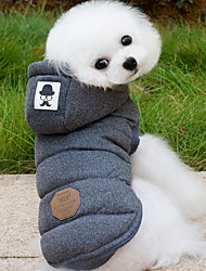 Dog Coat Hoodie Vest Dog Clothes Keep Warm Fashion Solid Gray Blue Costume For Pets