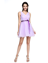 A-Line V-neck Short / Mini Tulle Bridesmaid Dress with Bow(s) Sash / Ribbon by LAN TING BRIDE®