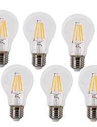 E26/E27 LED Filament Bulbs A60(A19) 4 COB 400 lm Warm White Cold White 2700k/6500 K Waterproof Decorative AC 220-240 V 6pcs