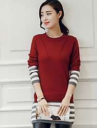 cheap -Women's Party Going out Holiday Vintage Street chic Sophisticated Color Block Round Neck Pullover, Short Sleeves Winter Fall Cotton