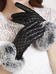 Women's PU Rabbit Fur Grid Wrist Length Fingertips Add Wool Upset Cute/ Party/ Casual Winter Fashion Warm Gloves
