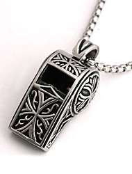 Punk Style Pendant Charm Necklace 316L Stainless Steel Retro Carving Whistle Shape Men And Women Jewelry