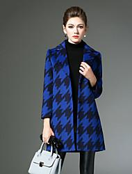 preiswerte -Damen Hahnentrittmuster Retro Lässig/Alltäglich Mantel,Winter Gekerbtes Revers Langarm Blau / Rot / Grau Mittel Andere