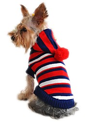 Cat Dog Sweater Hoodie Dog Clothes Fashion Christmas New Year's Stripe Yellow Red Costume For Pets