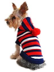 baratos -Gato Cachorro Súeters Camisola com Capuz Roupas para Cães Fashion Natal Ano Novo Riscas Amarelo Vermelho Ocasiões Especiais Para animais