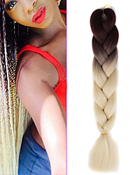 "cheap -1 Pack Brown Ombre Creamy White Crochet 24"" Yaki Kanekalon Fiber 100g 2 Tone Jumbo Braids Synthetic Hair"