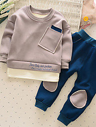 Boy Casual/Daily Solid Sets,Cotton Winter Long Sleeve Clothing Set