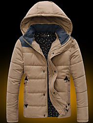 cheap -Men's Short Padded Coat,Casual Daily Solid-Cotton Cotton Long Sleeves Hooded