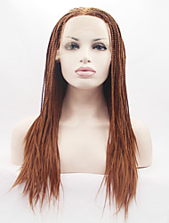 cheap -Women Synthetic Lace Front Wigs Braided Brown Hair Long Wig Hair Braiding Heat Friendly Fiber