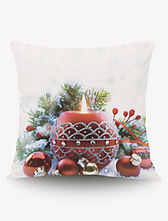 cheap -Christmas Christmas Gift Pillow Cover Series Romantic Red Candle Gift Pillow Round Flannel Material