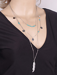 Women Unique Design Metal Feather Pendant Turquoise Bead Sequins Tassels Multilayer Necklace 1pc