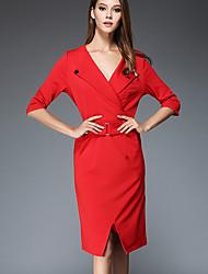 Damen Etuikleid Kleid-Lässig/Alltäglich Einfach Solide V-Ausschnitt Knielang ¾-Arm Rot / Schwarz Polyester Herbst Mittlere Hüfthöhe
