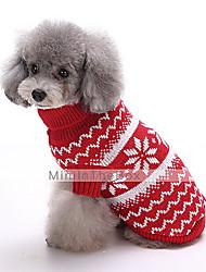 preiswerte -Hund Pullover Hundekleidung Schneeflocke Dunkelblau Rot Baumwolle Kostüm Für Haustiere Herrn Damen Modisch Weihnachten