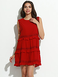 cheap -Women's Cute Chiffon Dress - Solid Colored, Layered