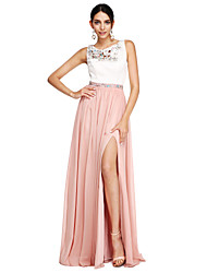 A-Line Jewel Neck Floor Length Chiffon Formal Evening Dress with Beading Sash / Ribbon Split Front by TS Couture®