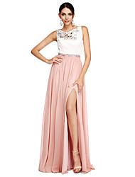 Linha A Decorado com Bijuteria Longo Chiffon Evento Formal Vestido com Miçangas Faixa / Fita Fenda Frontal de TS Couture®