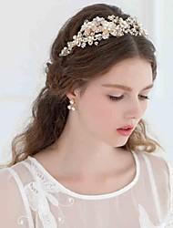 abordables -Perla Artificial Brillante Legierung Tiaras Bandas de cabeza Flores Cadena para la Cabeza Herramienta para el Cabello Celada