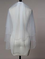 Wedding Veil Two-tier Elbow Veils Fingertip Veils Beaded Edge Scalloped Edge Tulle