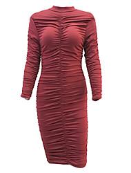 Moulante Robe Femme Décontracté / Quotidien / Soirée Sexy / simple,Couleur Pleine Col Arrondi Au dessus du genou Manches Longues Rouge