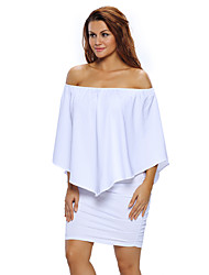 cheap -Women's Going out Club Sexy Bodycon Dress,Solid Off Shoulder Mini Short Sleeves Polyester Spandex Summer High Rise Stretchy Thin
