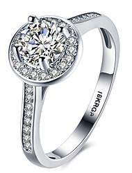 abordables -Femme Luxe Zircon cubique Platiné / Imitation Diamant Bague - Forme de Cercle / Forme Géométrique / Quatre Griffes Luxe / Amour / Cœur