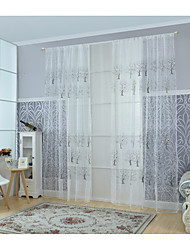 Rod Pocket One Panel Curtain Modern , Print Living Room Poly / Cotton Blend Material Sheer Curtains Shades Home Decoration