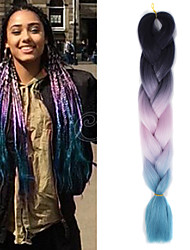"Black Pink Light Blue Ombre Crochet 24"" Yaki Kanekalon Fiber 3 Tone 100g Jumbo Braids Synthetic Hair"
