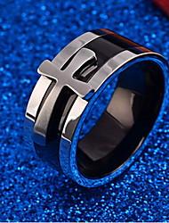 billige -Herre Ring - Titanium Stål Kors Personaliseret En størrelse Sølv Til Daglig