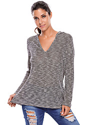 Women's Hooded V-Neck Long Sleeve Loose Knitted Top