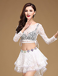 cheap -Belly Dance Outfits Women's Training Lace Lace Sequins 2 Pieces Long Sleeve Natural Top Skirt