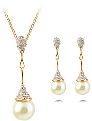 cheap -Women's Drop Shape Luxury Pendant Statement Jewelry Jewelry Set Necklace/Earrings Statement Necklace Imitation Pearl Pearl Imitation