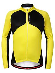 baratos -WOSAWE Manga Longa Camisa para Ciclismo - Amarelo Moto Camisa / Roupas Para Esporte, Térmico / Quente, Forro de Velocino