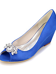 Women's Heels Spring Summer Fall Silk Wedding Party & Evening Stiletto Heel Rhinestone Sliver Red Blue Champagne Ivory