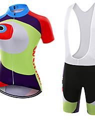 WOLFKEI Dame Kortærmet Cykeltrøje og shorts med seler Cykel Tøjsæt, Hurtigtørrende, Åndbart, Svedreducerende