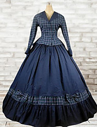Victorian Rococo Costume Women's One Piece Dress Outfits Blue Vintage Cosplay Cotton Long Sleeves