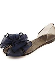 Недорогие -Жен. Обувь ПВХ Лето Удобная обувь Сандалии На плоской подошве / Прозрачный каблука Цветы Белый / Черный